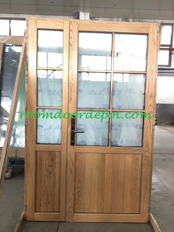 Wood cladding aluminium french patio doors with grill design