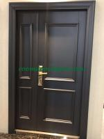 nice grey color two square design galvanized steel entrance security doors